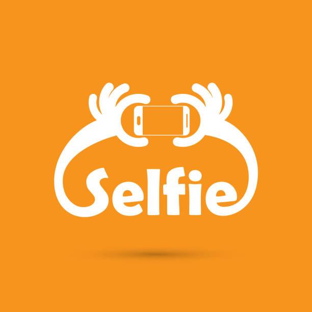 selfie von fotos auf smartphone-porträt - selfie stock-grafiken, -clipart, -cartoons und -symbole