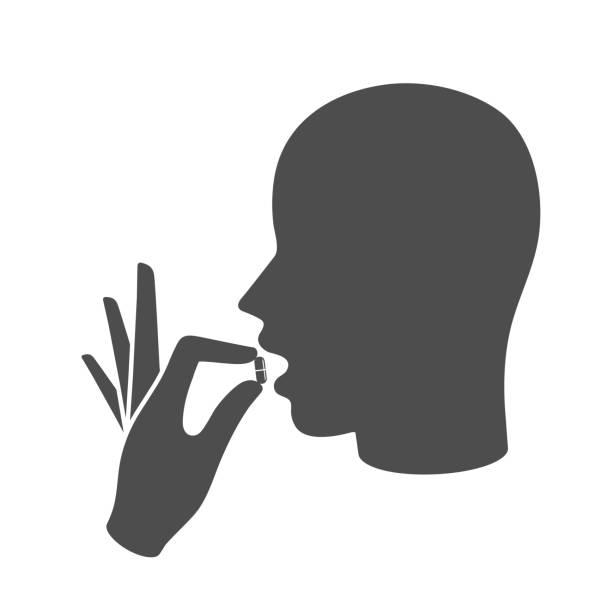 die medizin-ikone-konzept - essen mund benutzen stock-grafiken, -clipart, -cartoons und -symbole