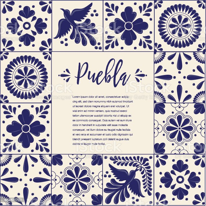 Talavera Tile From Puebla México Composition Copy Space Stock Vector - Black and white talavera tile