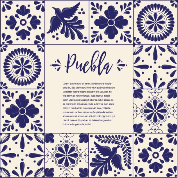 talavera tile from puebla, méxico composition - copy space - tile pattern stock illustrations, clip art, cartoons, & icons