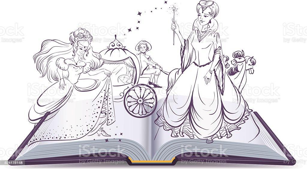 Geschichte von Cinderella. Offenes Buch fantasy Geschichte – Vektorgrafik