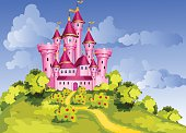 Vector tale princess pink castle on green hill.