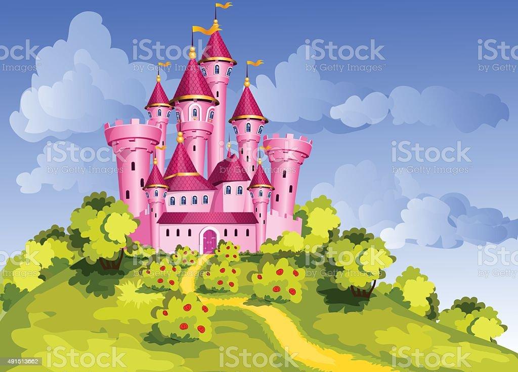 Tale  pink castle vector art illustration