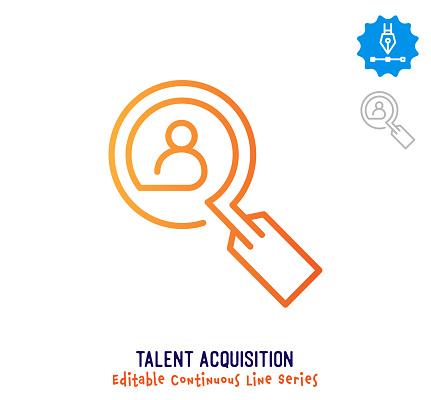 Talent Acquisition Continuous Line Editable Stroke Icon