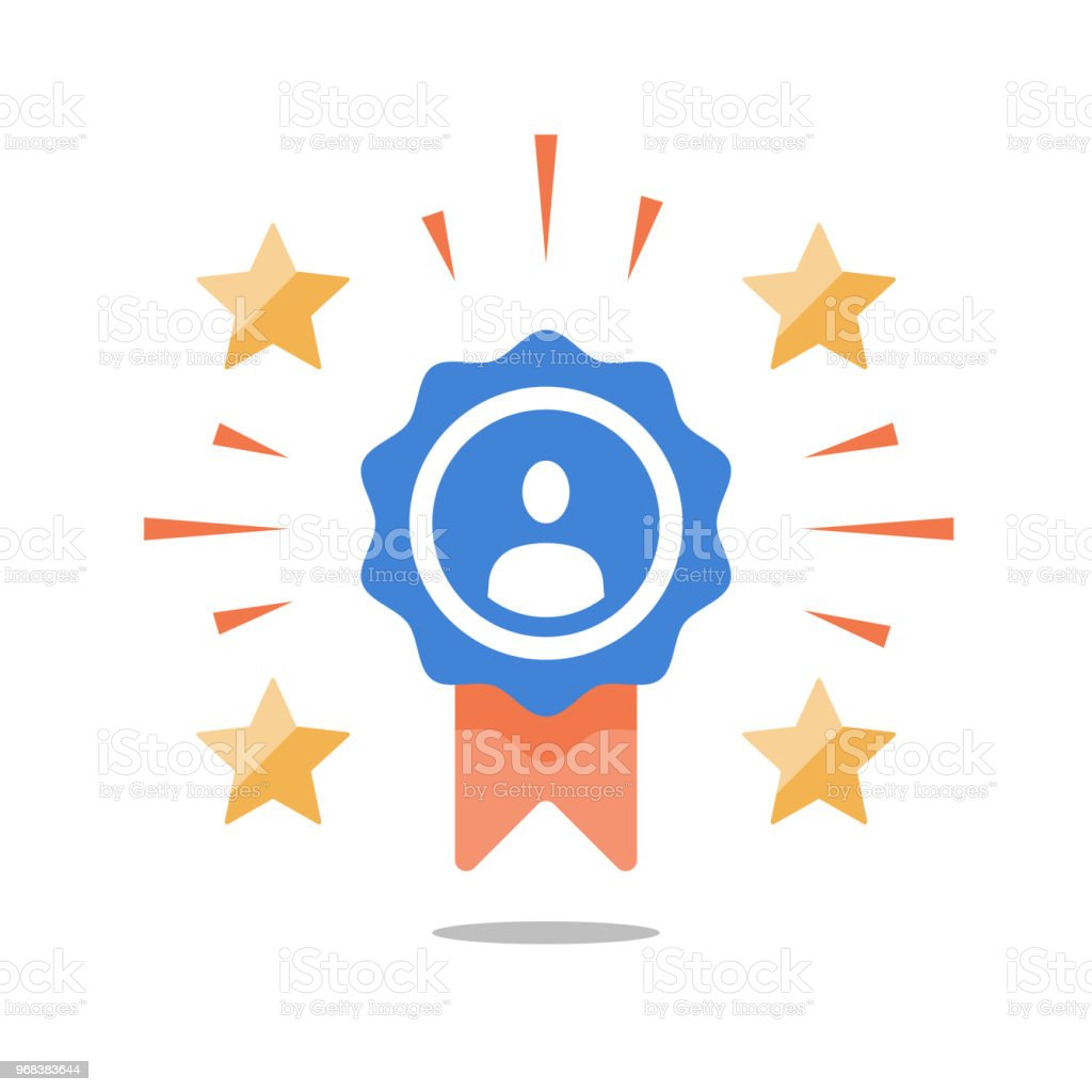 Talent award, employee of the month, outstanding achievement, first place winner, reward for good work, successful person vector art illustration