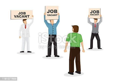 A talent looking and choosing three employers with their signboard, attracting him into their company. Concept of recruitment, headhunter or corporate hiring. Isolated vector illustration