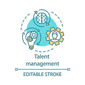 Talent management concept icon. Developing and retaining employee idea thin illustration. High-potential specialist coaching. Worker training program. Vector isolated outline drawing. Editable stroke