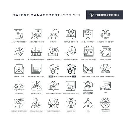 Talent Management Editable Stroke Line Icons