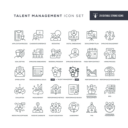 29 Talent Management Icons - Editable Stroke - Easy to edit and customize - You can easily customize the stroke with
