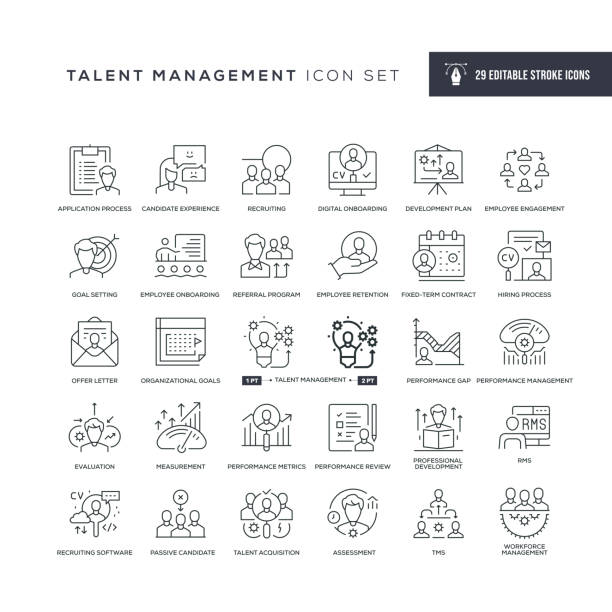 Talent Management Editable Stroke Line Icons 29 Talent Management Icons - Editable Stroke - Easy to edit and customize - You can easily customize the stroke with memories stock illustrations