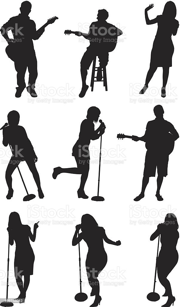 Talent show contestants singing and playing guitar vector art illustration