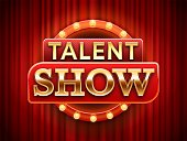 Talent show sign. Talented stage banner, snows scene red curtains and event invitation poster. Theater performance banner, talent day festival curtain chalkboard vector illustration