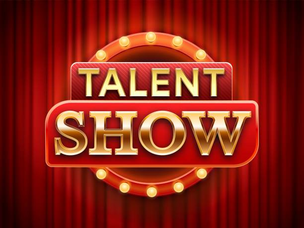illustrazioni stock, clip art, cartoni animati e icone di tendenza di talent show sign. talented stage banner, snows scene red curtains and event invitation poster vector illustration - turno sportivo