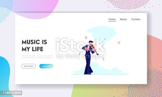 Talented Artist Performing on Scene Website Landing Page. Violinist in Concert Costume Playing Musical Composition on Violin for Symphonic Orchestra Web Page Banner. Cartoon Flat Vector Illustration