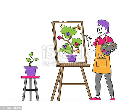 istock Talented Artist Woman in Apron with Paints Palette and Brush in Hands Stand in Front of Easel Canvas Painting Flower 1279764025