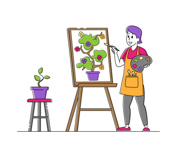 Talented Artist Woman in Apron with Paints Palette and Brush in Hands Stand in Front of Easel Canvas Painting Flower Talented Artist Female Character in Apron with Paints Palette and Brush in Hands Stand in Front of Easel Canvas Painting Flower. Creative Hobby, Drawing Art Class, Workshop. Linear Vector Illustration acrylic painting stock illustrations