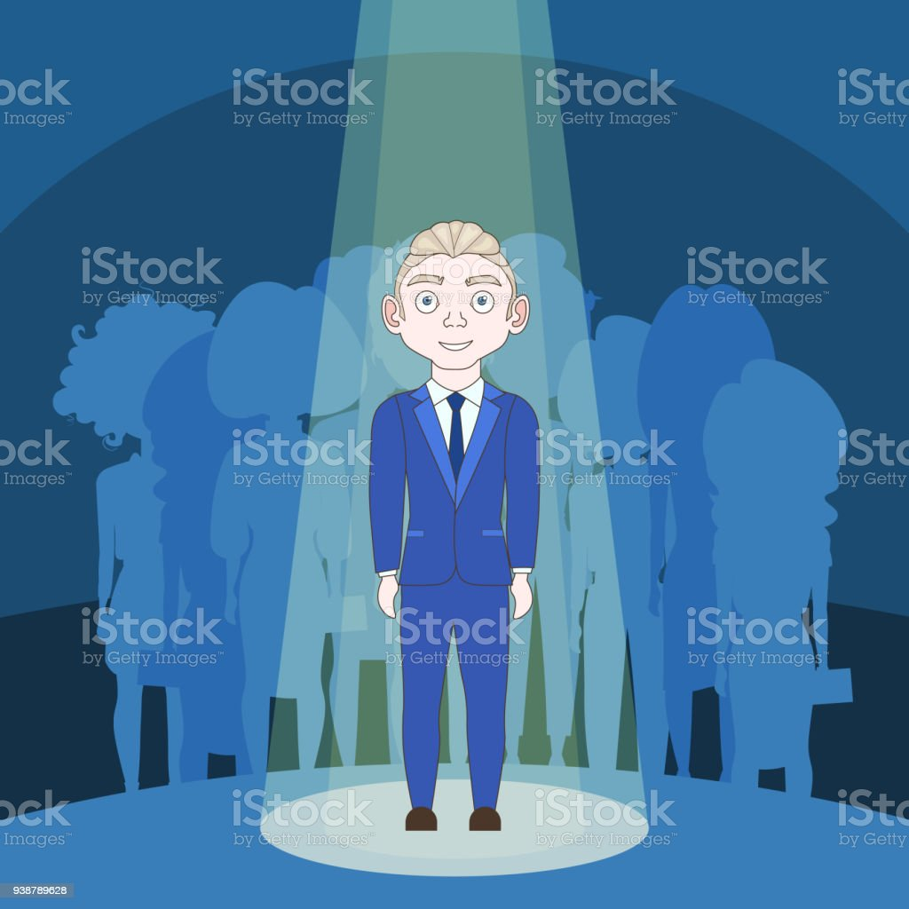 Talented Man In Spotlight Over Silhouette People Background vector art illustration