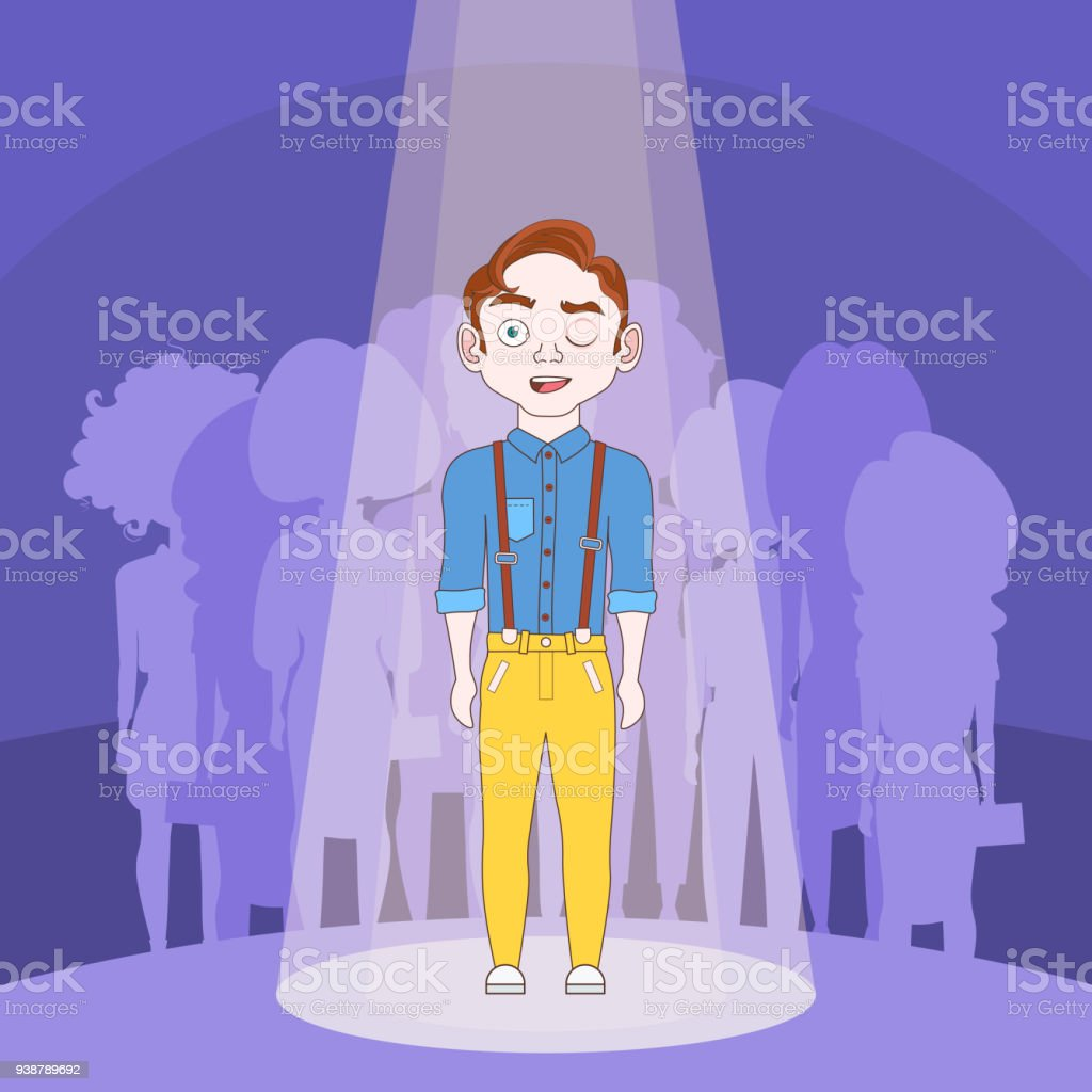 Talented Man Standing In Spotlight Over Silhouette People Crowd Background vector art illustration