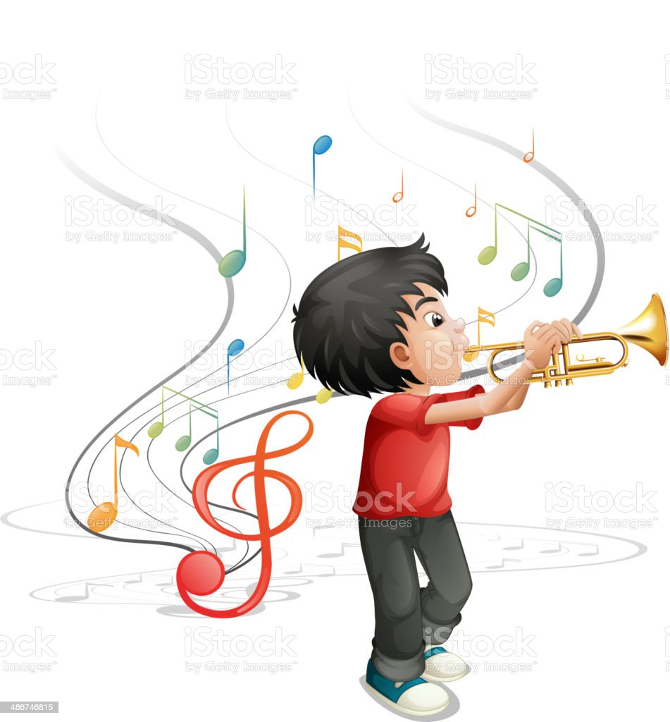 talented young boy playing with the trumpet vector art illustration