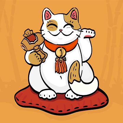 talisman cat beckoning wealth with hammer