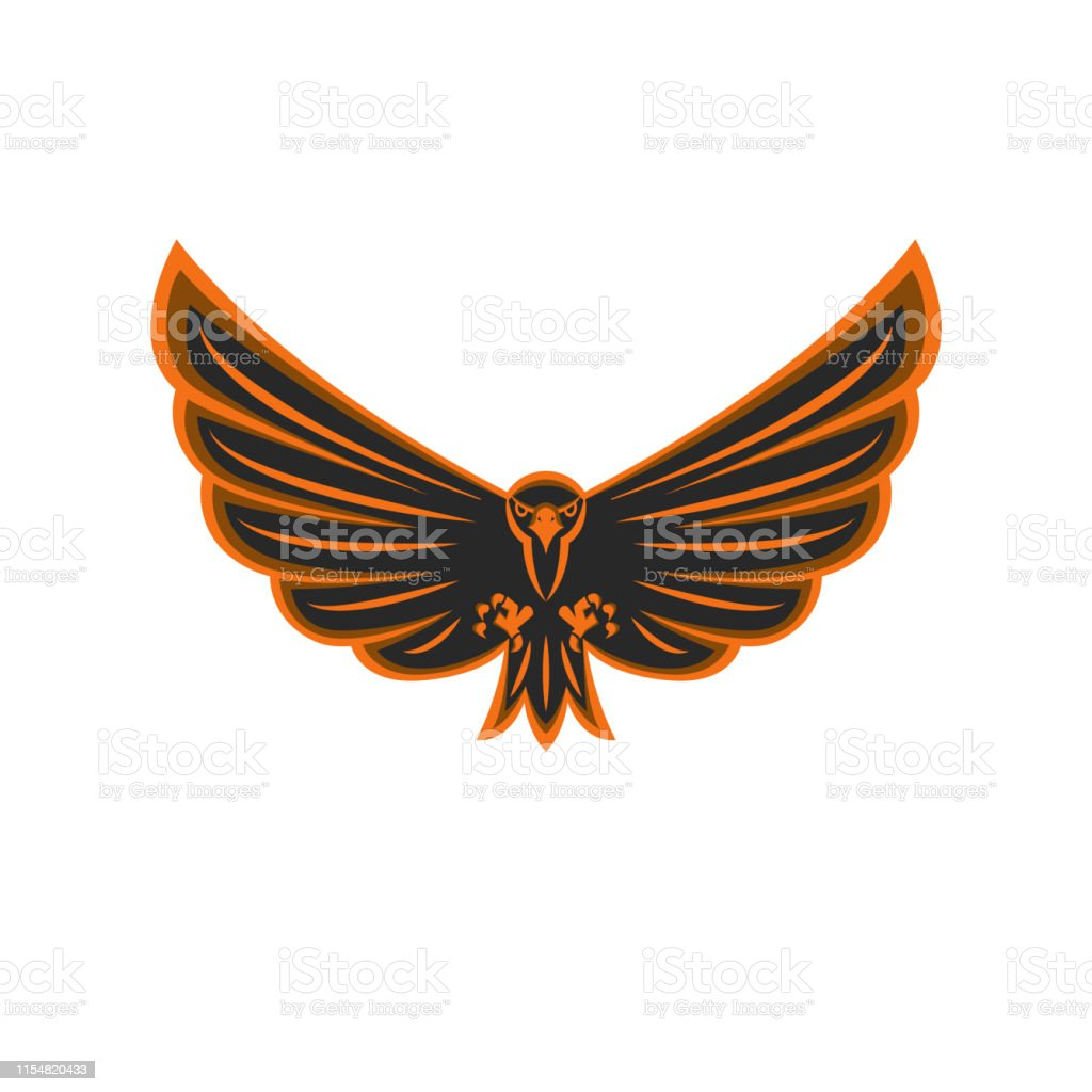 Talisman Flying Eagle Logo Bird Of Prey With Widely Spread Wings And Aggressive Gaze Black And Orange Emblem Print Of A Hawk Stock Illustration Download Image Now Istock
