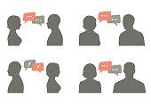 talk icon vector illustration. couple dialog