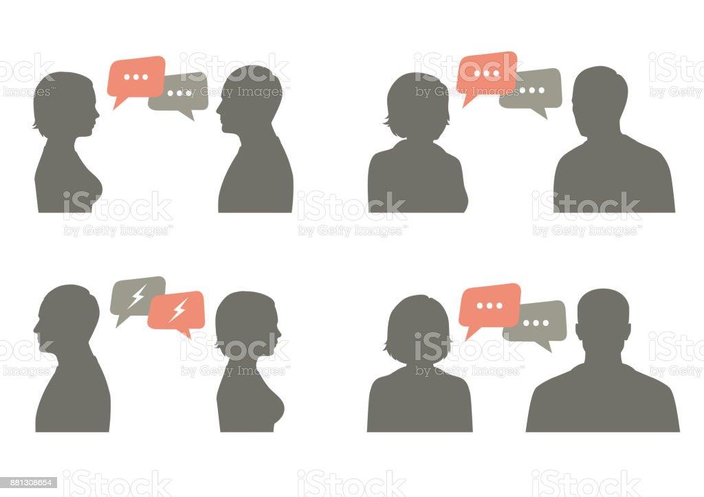 Ilustración de vector icono de hablar. diálogo de pareja - ilustración de arte vectorial