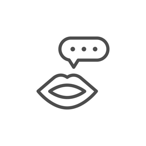 talk line icon - język otwór gębowy stock illustrations