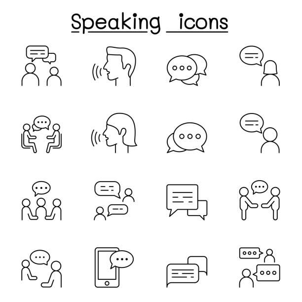 vortrag, sprache, diskussion, dialog, sprechen, chat, konferenz, besprechungssymbol im dünnlinienstil - gespräch stock-grafiken, -clipart, -cartoons und -symbole
