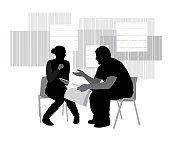 Conversation between two young adults in silhouettes on mid century background