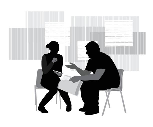 Talk Things Through Advice Conversation between two young adults in silhouettes on mid century background coworker stock illustrations