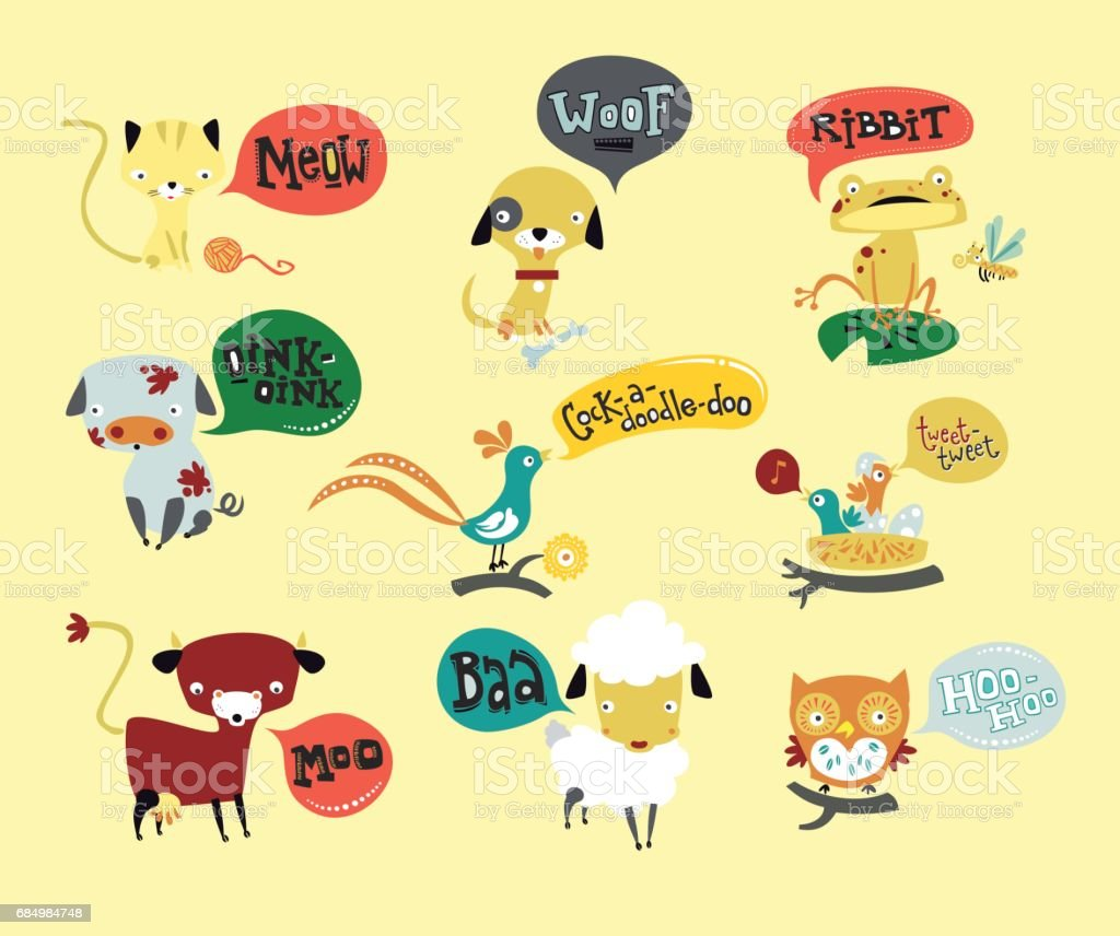 Talking animals vector art illustration