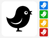 Talking Bird Icon Flat Graphic Design