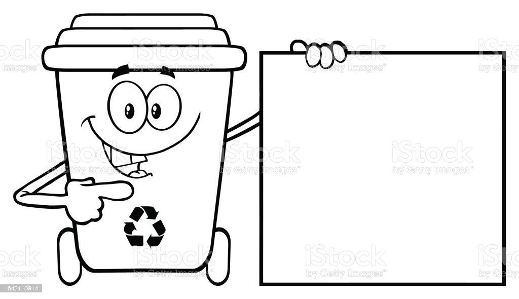 talking black and white recycle bin cartoon mascot