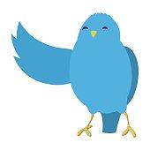 Talking blue bird illustration