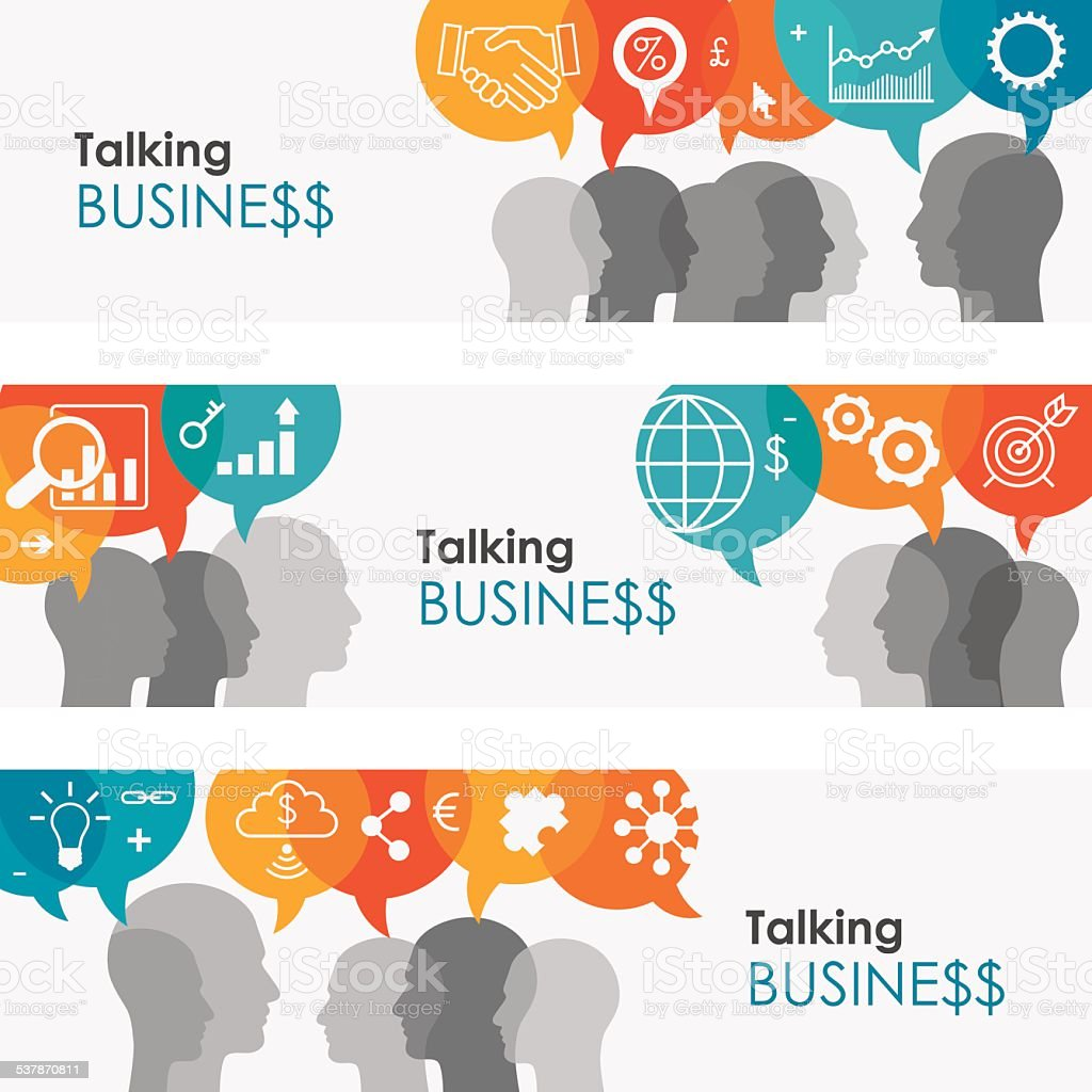 Talking Business Online-Banner Lizenzfreies talking business onlinebanner stock vektor art und mehr bilder von 2015