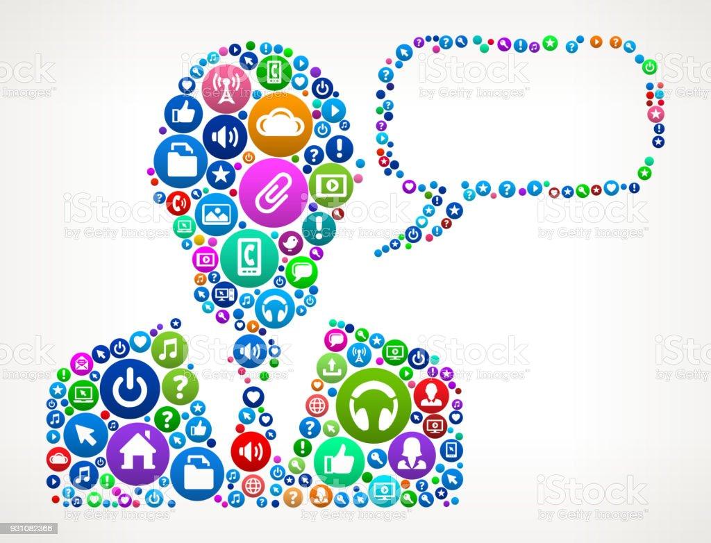 Talking Businessman Internet Communication Technology Icon Pattern vector art illustration