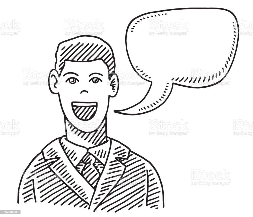 Talking Businessman With Speech Bubble Drawing vector art illustration