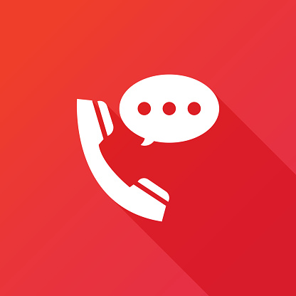 Talking by phone auricular symbol with speech bubble. Phone and bubble speech icon. Flat icon with long shadow