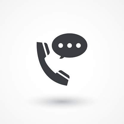 Talking by phone auricular symbol with speech bubble. Phone and bubble speech icon. Flat icon