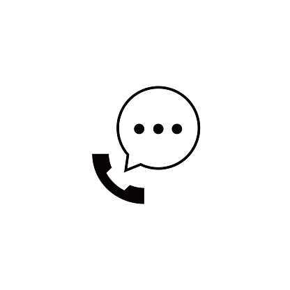 Talking by phone auricular symbol with speech bubble.
