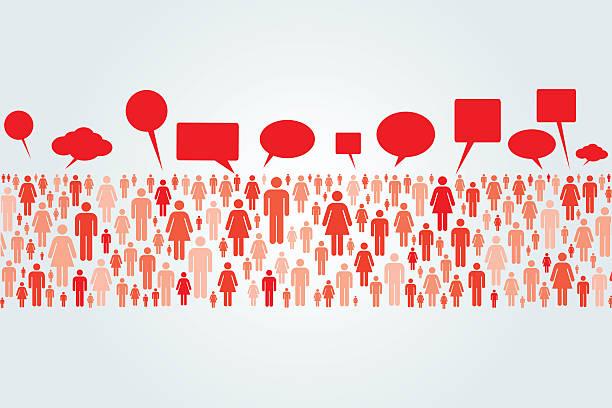 Talking Crowd vector art illustration