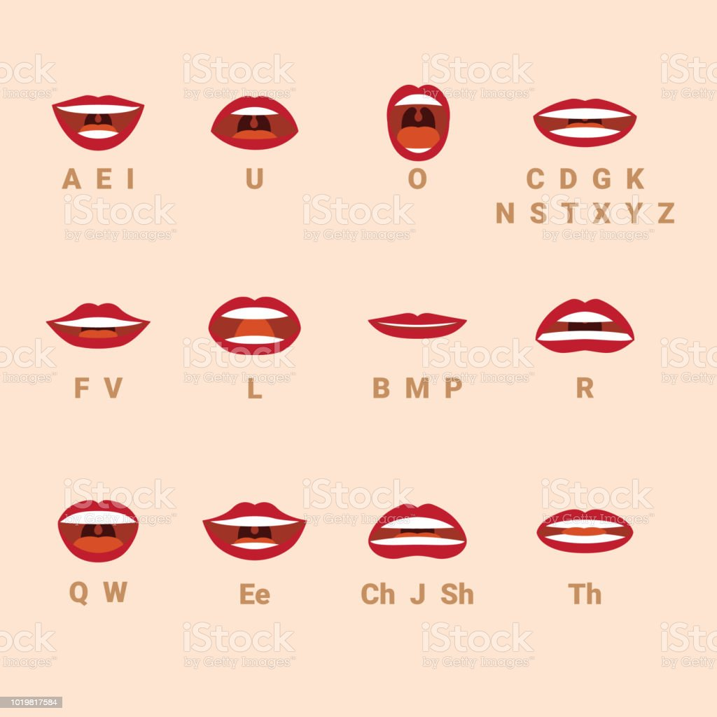 Talking mouth and lips expressions vector style. vector art illustration