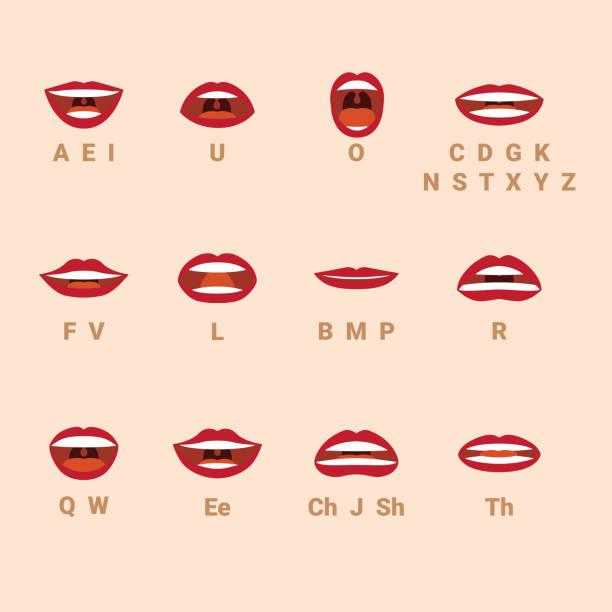 Parler la bouche et les lèvres des expressions style vecteur. - Illustration vectorielle