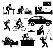 A set pictogram representing people talking on phone while writing on a paper, fixing a machinery, sleeping on bed, running, cycling, driving a car, relaxing on couch, cooking at kitchen, and fishing.