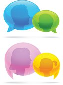 Vector illustration of talking concept with speech bubbles with transparency in AI EPS 10.