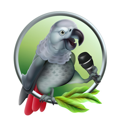 Talking parrot with microphone. Vector realistic. Vector Mesh technique.