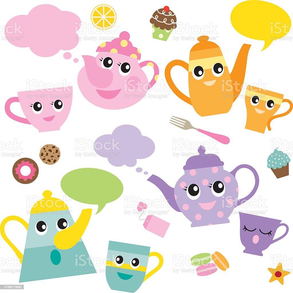 Talking Teapots and Teacups vector art illustration