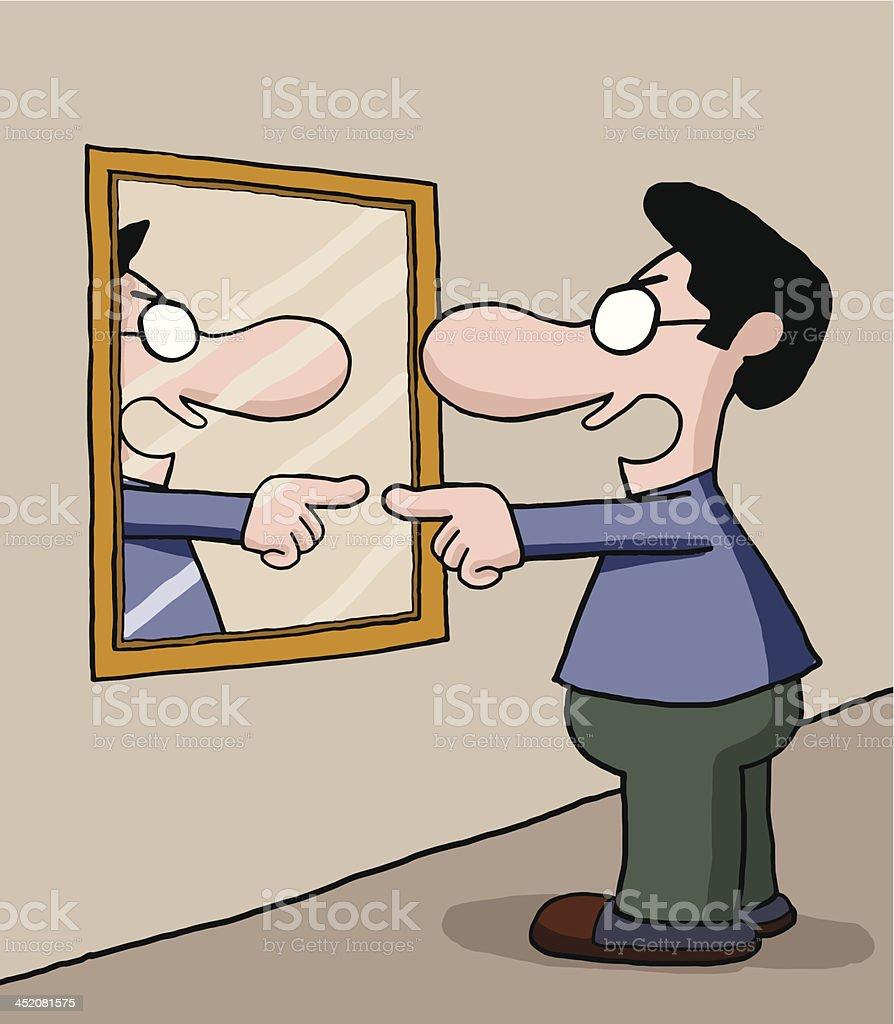 Talking to mirror vector art illustration