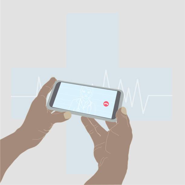 illustrazioni stock, clip art, cartoni animati e icone di tendenza di parlare con il dottore con il cellulare. smartphone e salute - woman chat video mobile phone